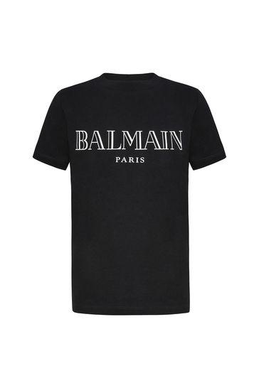보이즈 블랙 코튼 로고 프린트 티셔츠
