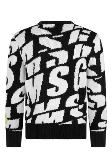 Boys Black And White All Over Logo Knit Jumper