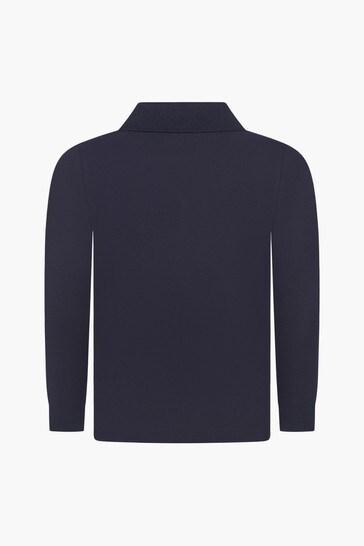 Boys Navy Pique Cotton Polo Top