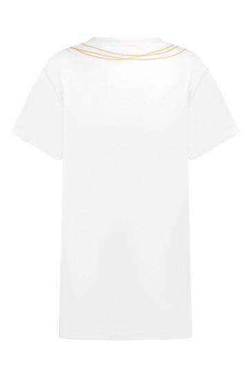 Girls White Cotton Maxi T-Shirt