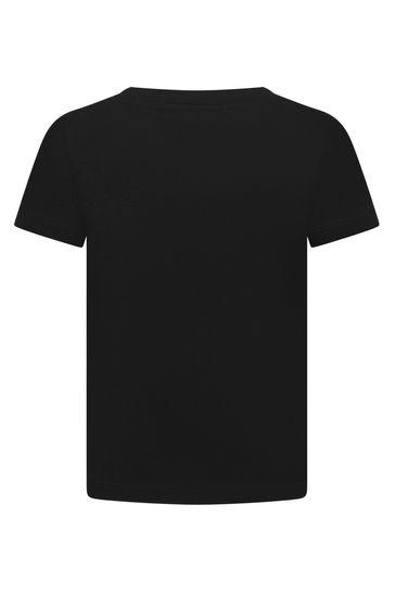Boys Black Cotton Jersey Logo T-Shirt