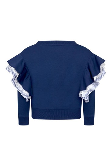 Girls Blue Cotton Sweat Top