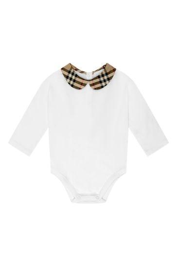 Baby Girls White Cotton Bodysuit & Skirt Gift Set