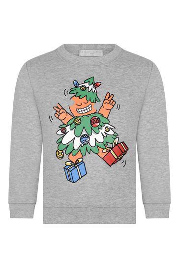 Boys Grey Christmas Tree Print Sweater