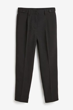 Black High Waist Tapered Leg Trousers (9-16yrs)