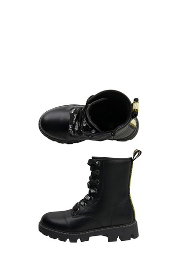 Girls Black Leather Boots