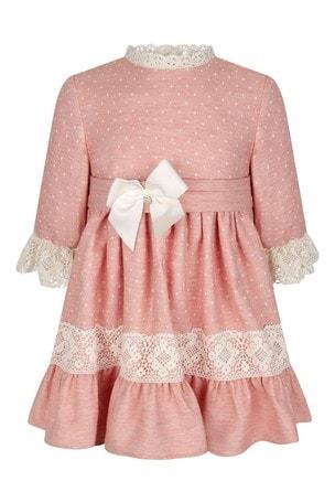 Girls Pink Lace Trim Dress