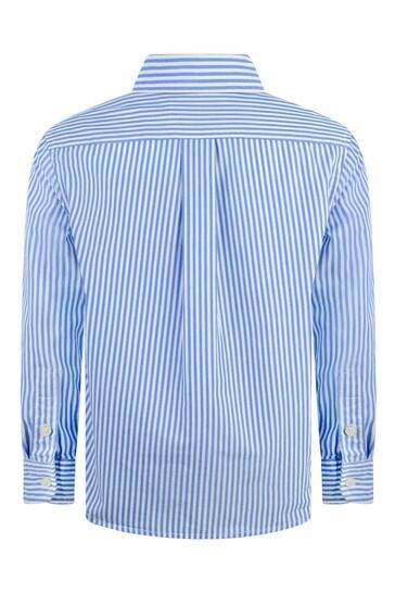 보이즈 블루 스트라이프 코튼 셔츠