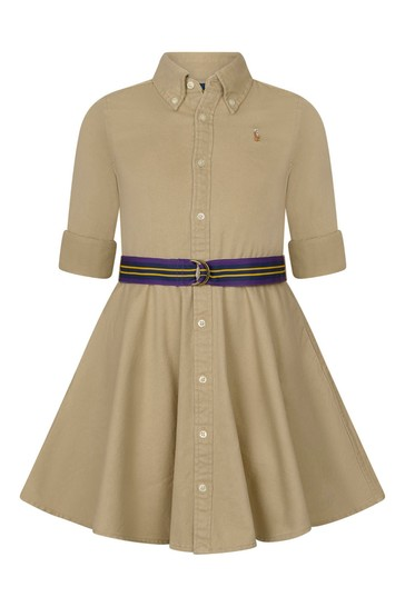 Girls Beige Cotton Chino Dress