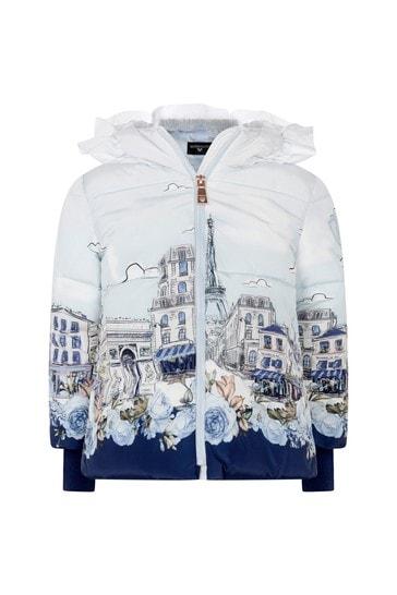 Girls Ivory/Blue Paris Down Padded Jacket