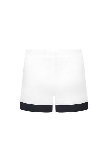 Girls White Cotton Shorts