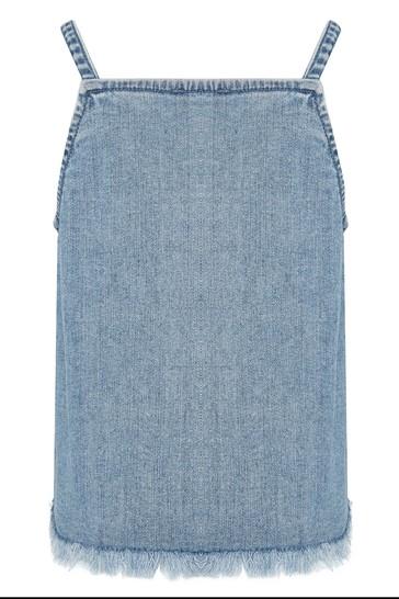 Girls Blue Cotton Denim Top