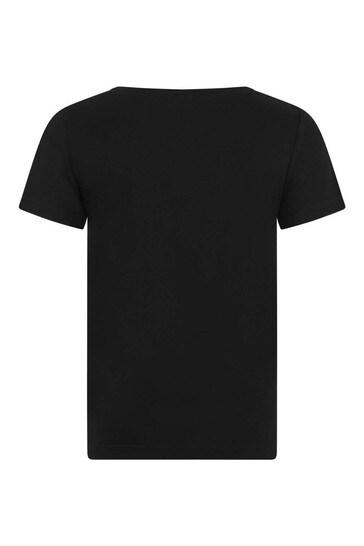 Black Logo Print Top