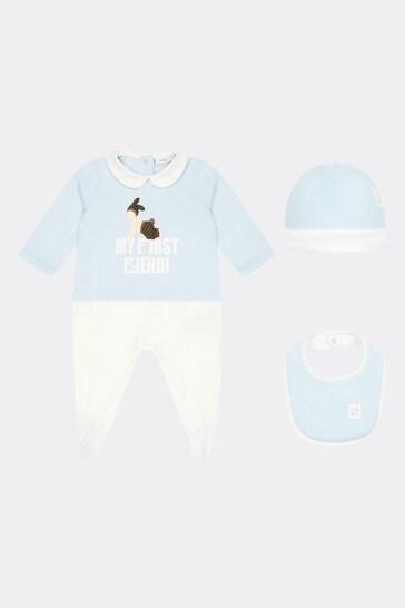 Boys Blue Cotton Babygrow Gift Set