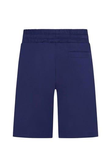 Blue Cotton Logo Shorts
