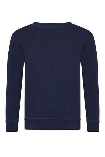 Boys Navy Cotton Fleece Sweater