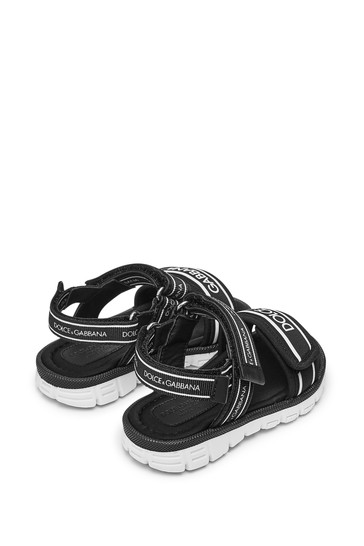Baby Black Leather Sandals