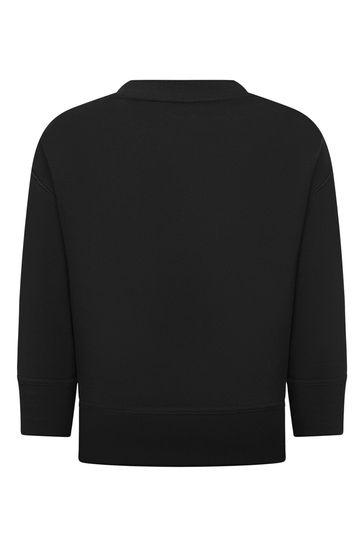 Kids Black Cotton Logo Sweater