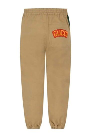 Boys Beige Stretch Gabardine Trousers