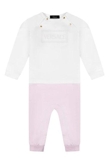Baby Girls White & Pink Romper 2 Piece Gift Set
