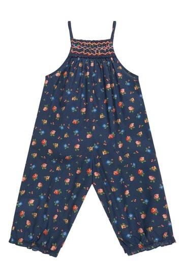 Baby Girls Navy Cotton Jumpsuit