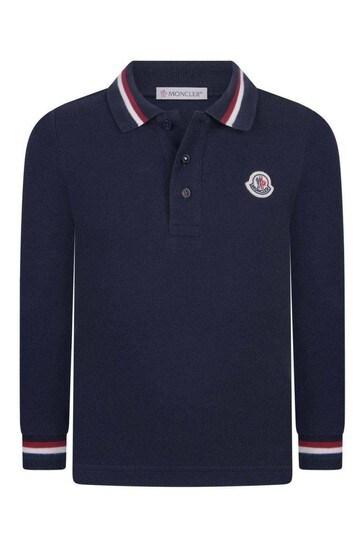 Boys Navy Cotton Long Sleeve Polo Top