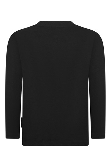 Boys Black Future Organic Cotton Long Sleeve T-Shirt