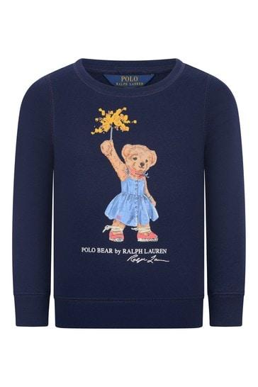 걸즈 네이비 코튼 베어 스웨터