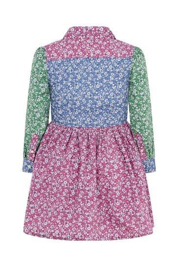 걸스 핑크 플로럴 코튼 셔츠 드레스