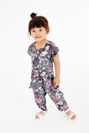 Charcoal Floral Jumpsuit (3mths-7yrs)