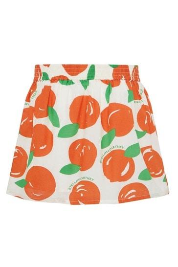 Girls Orange Cotton Skirt