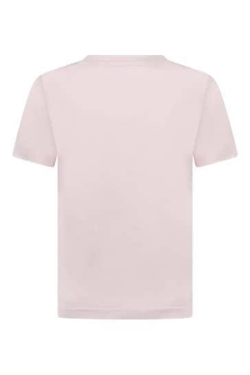 Girls Pink Cotton Logo T-Shirt