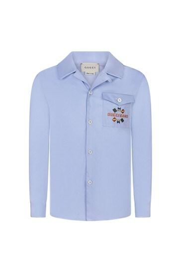 소년 라이트 블루 포프린 자수 셔츠