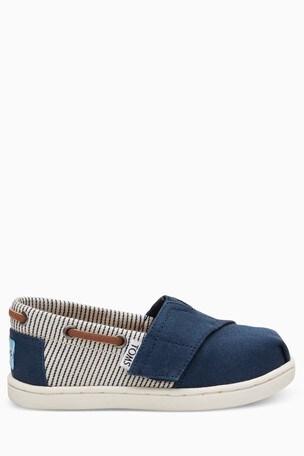 Buy Toms Navy Canvas Stripes Velcro Bimini Shoe From Next Singapore