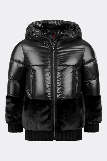 Girls Black Down Padded Logo Jacket