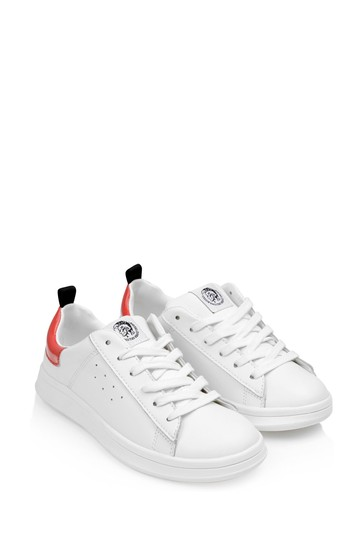 Boys White/Red Leather Trainers