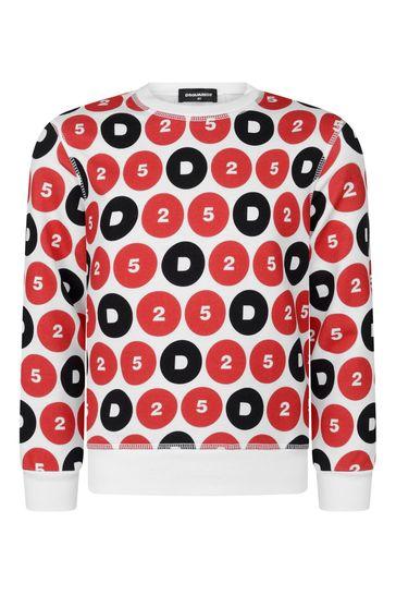 키즈 화이트 코튼 로고 스웨터