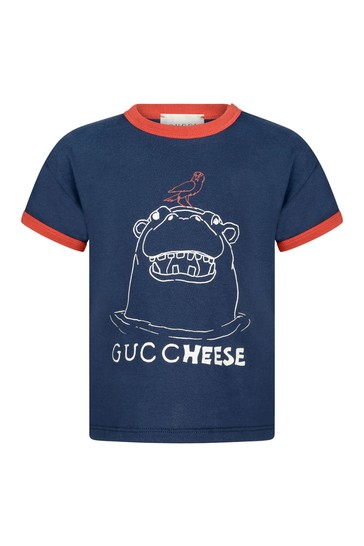 베이비 보이즈 네이비 코튼 하마 티셔츠