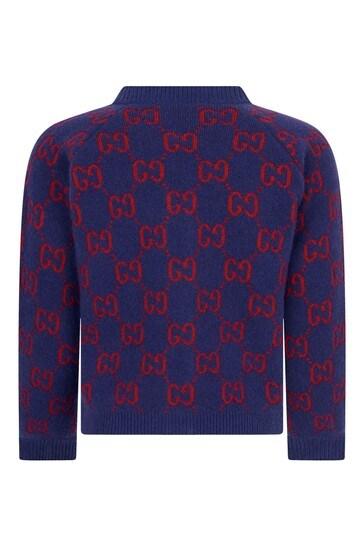 Baby Girls Navy Wool Knitted GG Cardigan