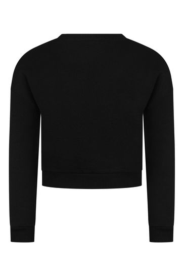 Girls Black Cotton Sweater