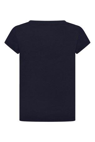 Girls Navy Cotton Jersey Bear T-Shirt