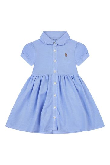 베이비 걸즈 블루 코튼 드레스