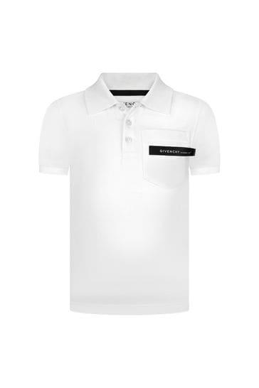 Boys White Cotton Poloshirt
