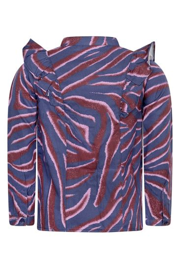 Girls Purple Zebra Stripe Viscose Blouse