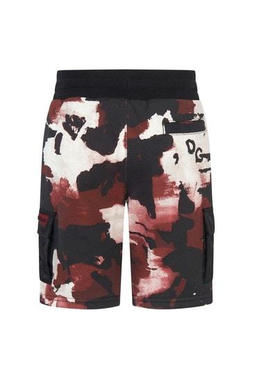 Boys Red Camo Print Cotton Shorts
