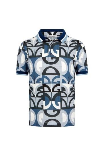 Dolce & Gabbana Boys Blue Cotton Polo Top