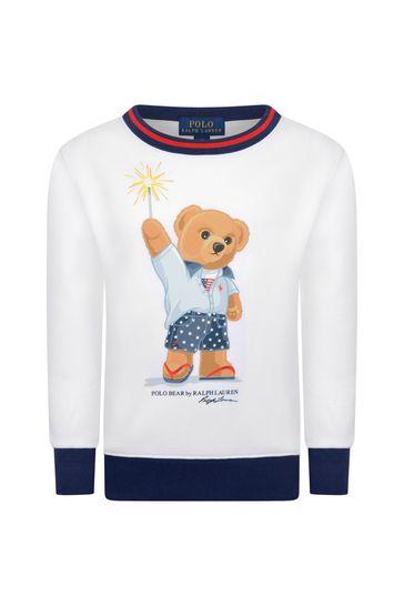 소년 화이트 크루 넥 스웨터