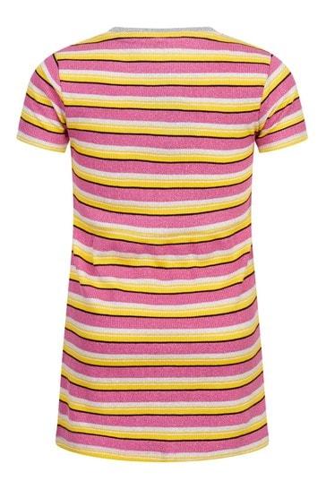 Girls Pink And Yellow Stripe Cotton Dress