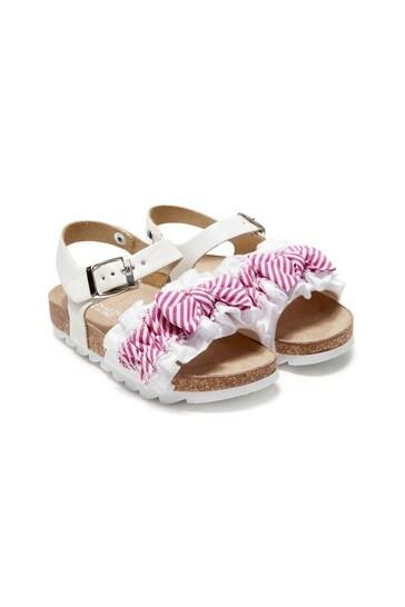 Girls White Cotton Sandals