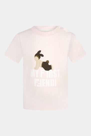 베이비 걸스 핑크 코튼 티셔츠